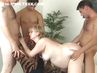 Blonde Pregnant Slut Gets Gangbang