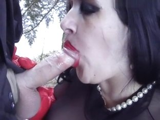 Red Vamp Blowjob Handjob - Lady In Leather Gloves And Nylon-body - Cum In My Mouth