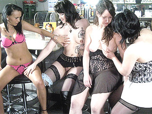 Anna G & Diana H & Janine B & Stephanie S In Young Amateur German Lesbians Public Bar - Mmvfilms