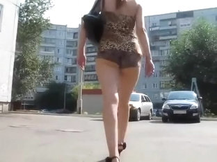 Butt Cheeks Jiggling As She Walks