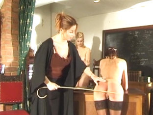 Daughter And Mother Spanked And Caned By Strict Teacher