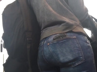 Nice Ass In Tight Jeans Waiting For The 104 Bus!!!!
