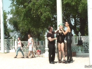 Slave In Fetish Clothes Fucked In Public
