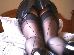 Latex Miniskirt Black And Seamed Stockings