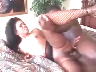 Afro Slut In Black Fishnet Drilled