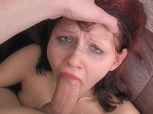 Shy Little Teen Stefani Gags Hard On Cock