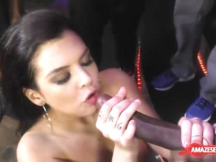 Brunette Pornstar Ball Licking With Facial