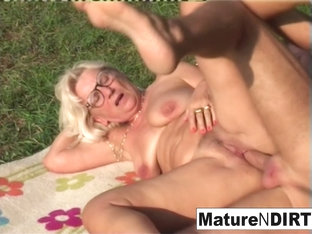 Blonde Grandma Gets Some Cum On Her Glasses - Maturendirty