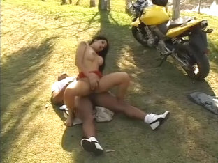 Busty Latina Has A Horny Black Biker Deeply Drilling Her Holes Outside