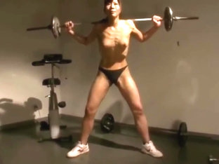 Unknown Asian Muscle Woman Topless, Crushes Apple With One Hand