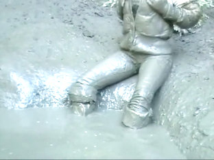 Sasja In Muddy White Thigh Boots (part 2)!!!