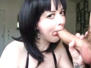 Stylish Brunette Blows A Big Cock
