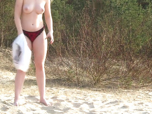 Blonde On Public Beach Convinced To Suck Balls