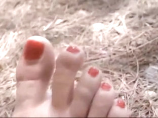 Stinky College Girl Feet With Dirty Soles In The Woods With Sandals