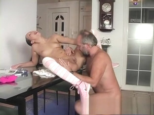 Dark-haired Girlfriend Loves Handling A Mature Dude's Piston