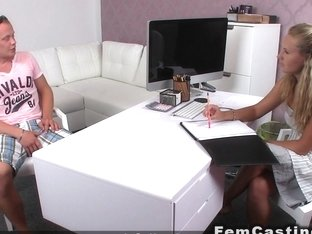 Female Agent Giving Footjob On Limp Dick