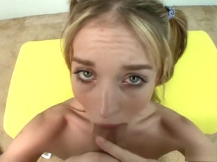 Pigtailed Blonde Schoolgirl Riley Shy Struggles With A Huge Rod In Pov