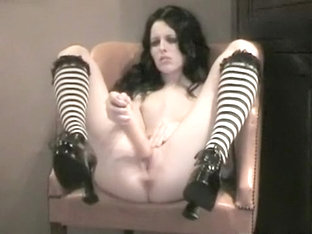 Sexy Little Horny Goth Babe Masturbates In Front Of Her Camera