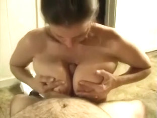Huge Tits Brunette Wife Blowjob And Hand Job And Cum On Tits