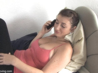 Busty Brunette Shows Off In A Free Down Blouse Video