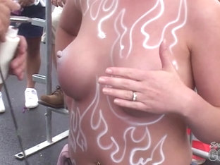 Some Chicks Getting Their Tits Body Painted On Duval Street Key West - Southbeachcoeds