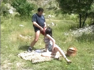 Brunette With Braces Gets Banged Outdoors
