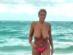 Milf With Huge Nipples And Big Tits Nude On Tropical Beach