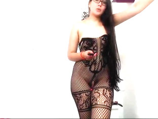 Sexy Colombian Hairplay, Striptease, Pigtails, Long Hair