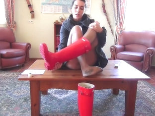Red Hunter Wellies Rubber Boots - Femdom POV Trample And Worship
