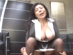 Busty Office Lady Fucked Riding On Guy Cock On The Couch In The Office Video