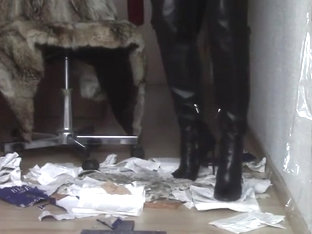Thigh High Boots With High Heels Leather And Fur