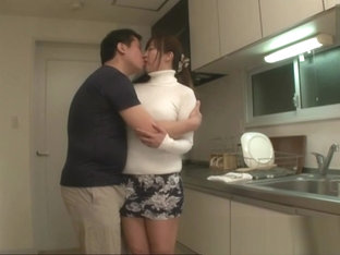 Japanese Mom And Son In The Kitchen
