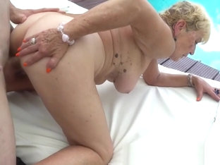 Saggy Grandma Jizzed In Mouth Outdoors