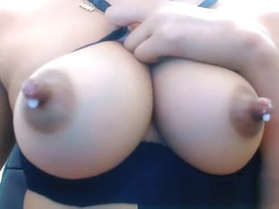 Camgirl Shows Her Big Boobs With Milk On Webcam