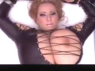 Busty Nelli Huge Natural Tits Leather Look Dress Tied Up