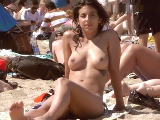 Sexy Brunette Girl Topless On The Beach