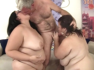 Horny Old Man Has Two Curvy And Lustful Ladies Sharing His Hard Dick