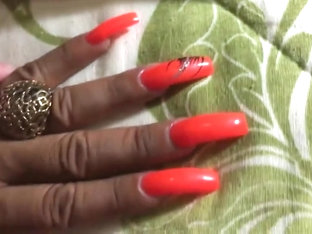 Latina With Sexy Long Orange Nails Fingernails