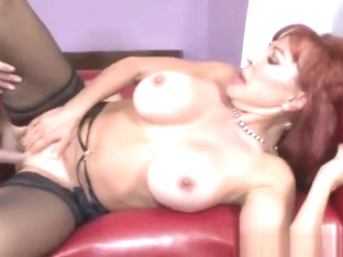 Dazzling Buxomy Experienced Female Sexy Vanessa In Seductive Stockings