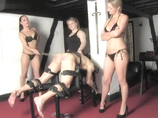 Fffm 3 Mistresses Caning  Spanking