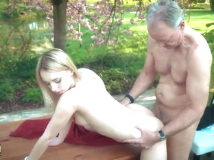 Junior Blonde Moaning Fucking An Old Man She Swallows His Cum