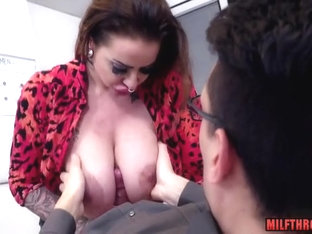 Brunette MILF Office Sex With Cum On Tits