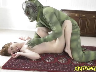 Kinky Blonde Is Getting Nailed By A Green Swamp Monster And Moaning From Pleasure While Cumming